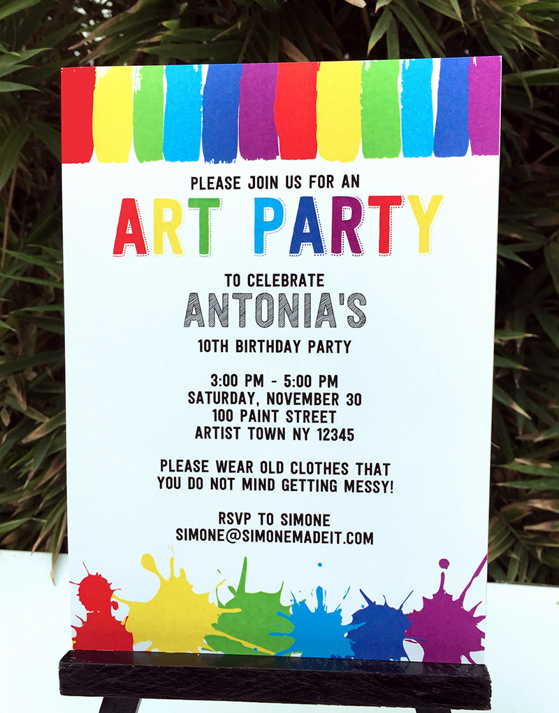 Painting Party Invitation Template Beautiful Art Birthday Party theme Printables