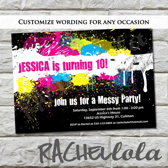 Painting Party Invitation Template Elegant Messy Paint Party Birthday Invitation for A Girl Pink
