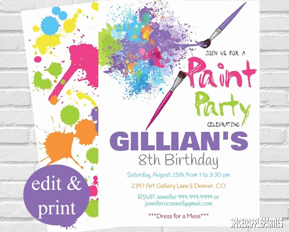 Painting Party Invitation Template Elegant Paint Party Invitation Art Party Invitation Paint Party