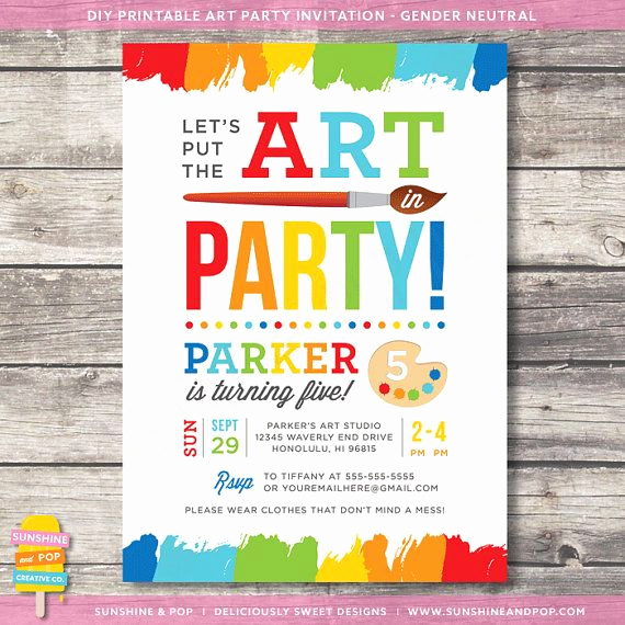 Painting Party Invitation Template Elegant Printable Art Party Invitation Rainbow Paint Party