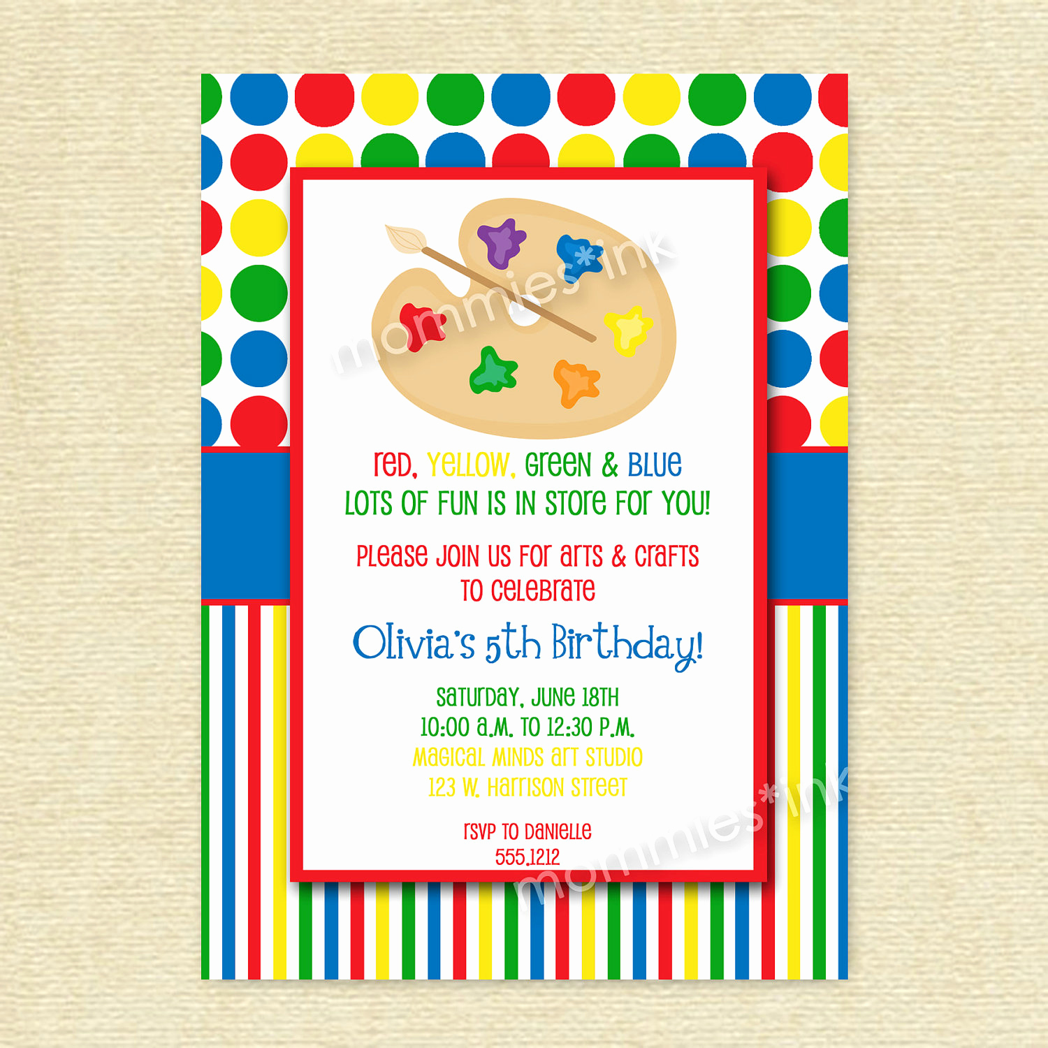 Painting Party Invitation Template Inspirational Arts and Crafts Birthday Party Invitations