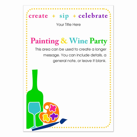 Painting Party Invitation Template Inspirational Painting and Wine Party Invitation