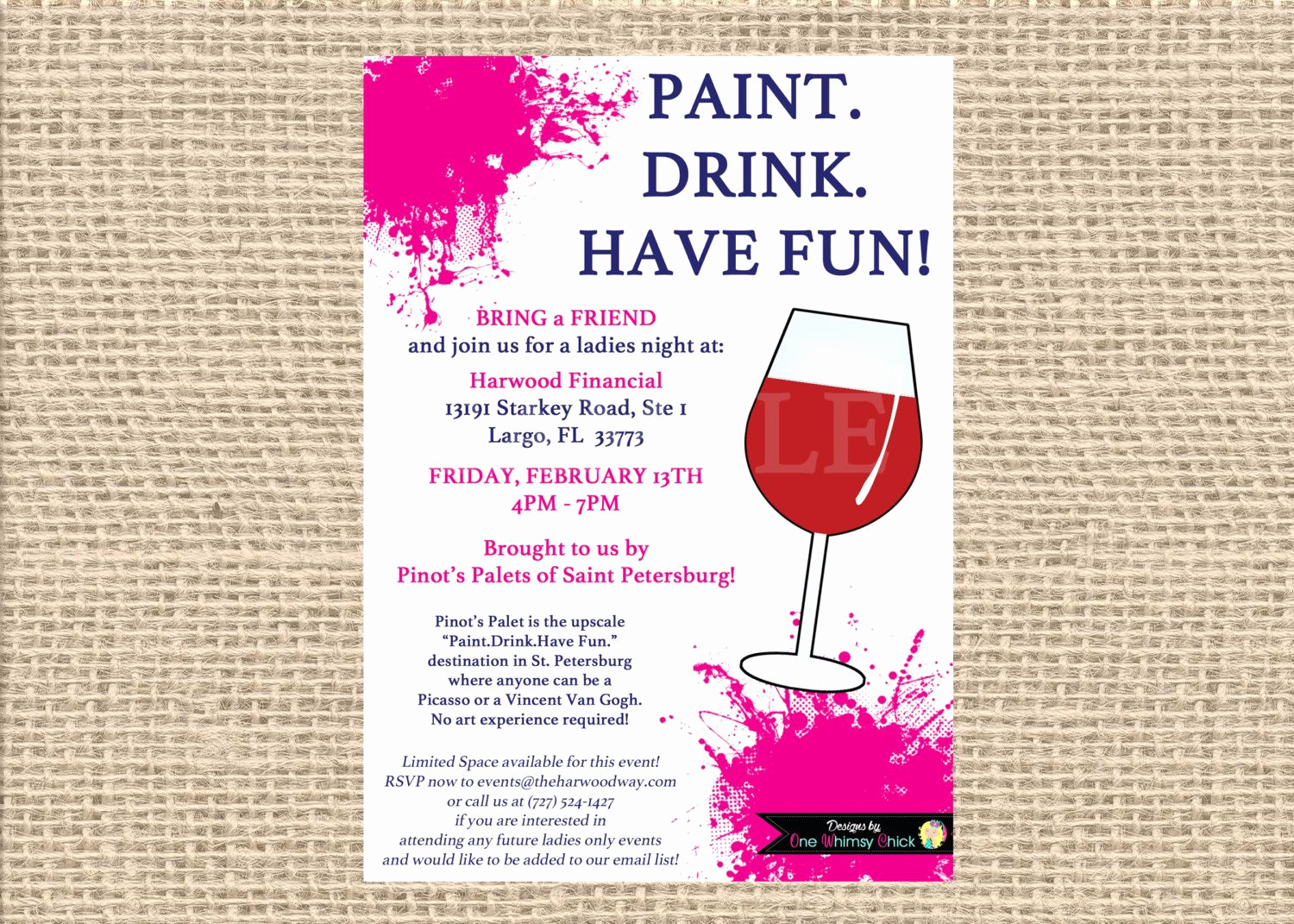 Painting Party Invitation Template Inspirational Painting Wine Party Invitation Bachelorette Invitations