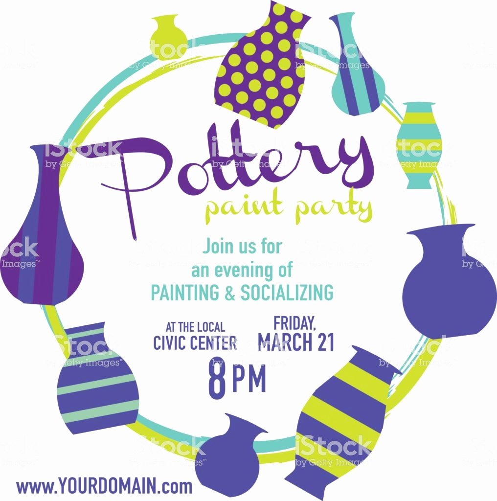 Painting Party Invitation Template Inspirational Pottery Paint Party Invitation Design Template Stock