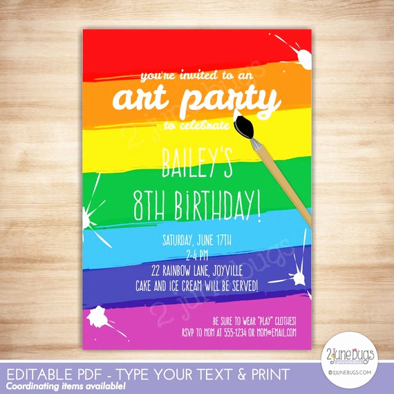 Painting Party Invitation Template New Art Party Invitation Template Paint Party Printable