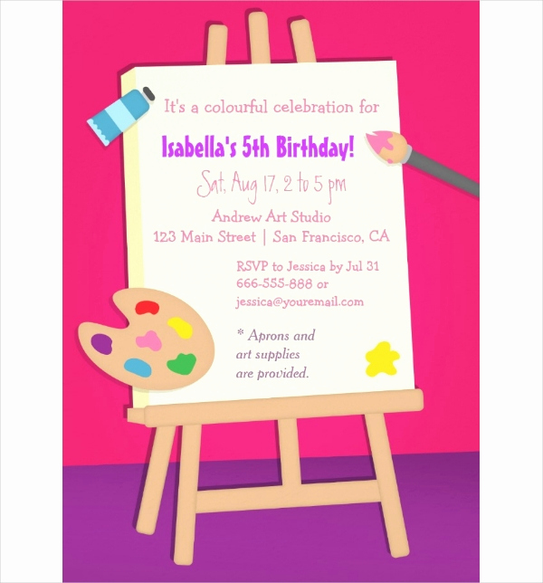 Painting Party Invitation Template Unique 19 Kids Party Invitation Designs & Templates Psd Ai