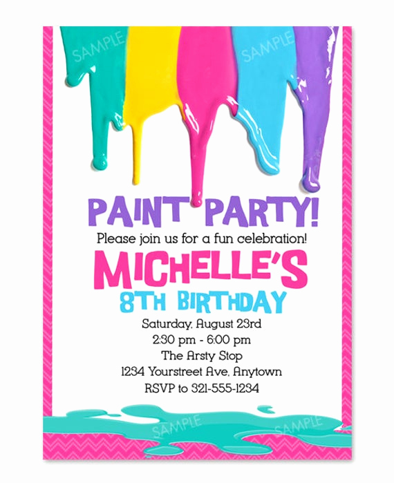 Painting Party Invitation Template Unique Painting Party Invitation for Arts and Crafts by Pixelparade