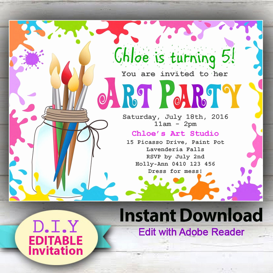 Painting Party Invitation Wording Awesome Editable Printable Art Party Invitation Children S