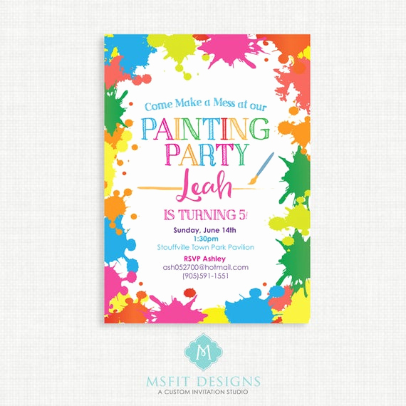 Painting Party Invitation Wording Best Of Paint Party Birthday Invitation Painting Birthday Printable