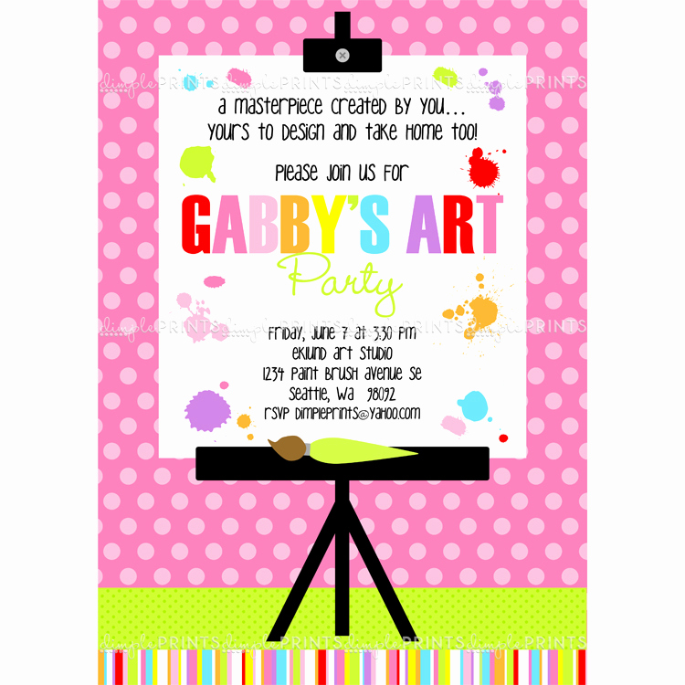 Painting Party Invitation Wording Elegant Painting Art Party Printable Invitation Dimple Prints Shop