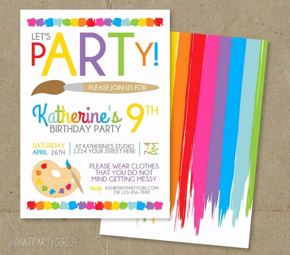 Painting Party Invitation Wording Fresh Art Party Invitation Art Birthday Invitation Art Party