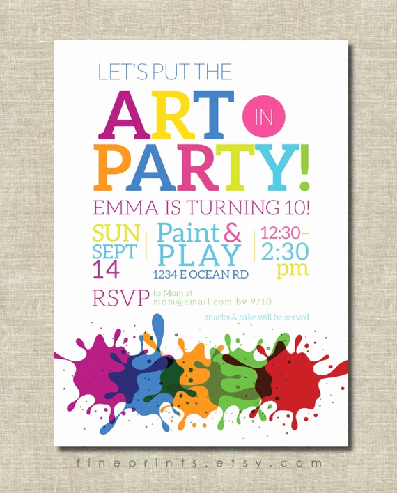 Painting Party Invitation Wording Fresh Art Party Invitation Painting Party Art Birthday Party