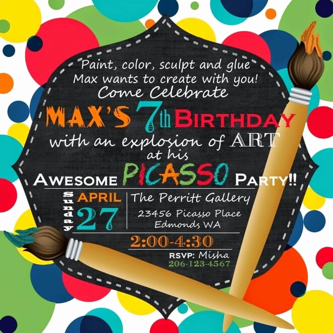 Painting Party Invitation Wording Inspirational A Picasso Inspired Boy's Art themed Birthday Party