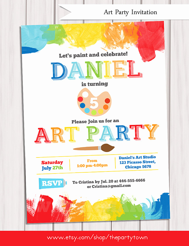 Painting Party Invitation Wording Inspirational Art Party Invitation Printable Rainbow Paint Party Birthday