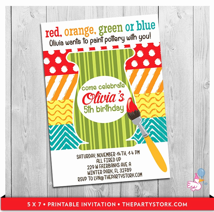 Painting Party Invitation Wording Lovely Pottery Invitations Printable Girls Pottery Painting Birthday