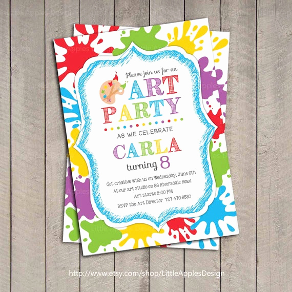 Painting Party Invitation Wording Luxury Art Party Invitation Kids Art Party Invitation Printable