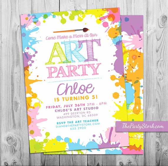 Painting Party Invitation Wording New Art Paint Party Invitations Printable Birthday Invitation