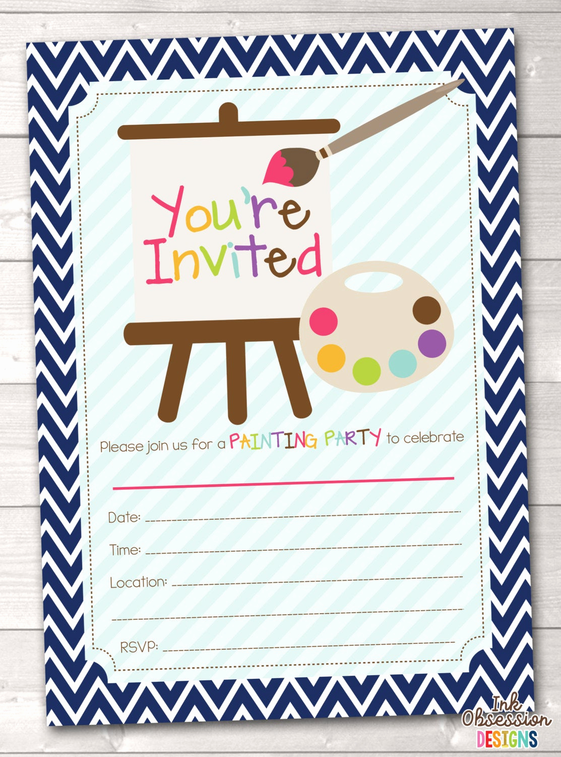 Painting Party Invitation Wording New Fill In Art Painting Party Invitations Printable Kids Birthday