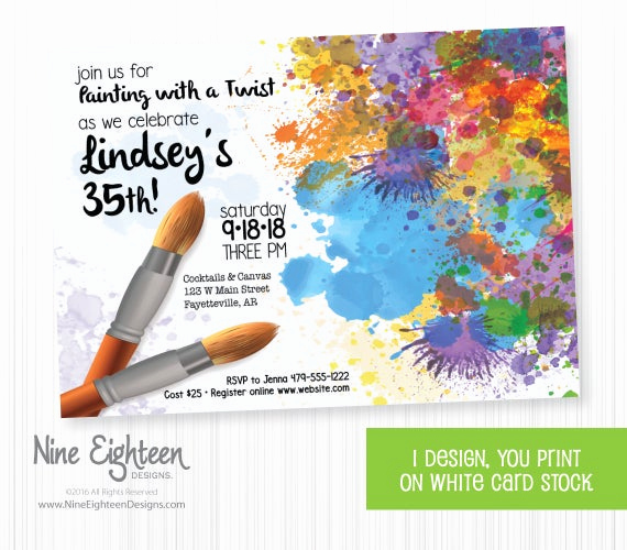 Painting Party Invitation Wording New Painting Party Invitation for Adult by Nineeighteenbirthday