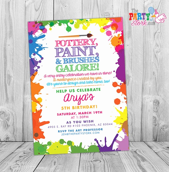 Painting Party Invitation Wording New Pottery Party Invitation Pottery Birthday Party Invitation