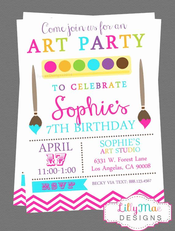 Painting Party Invitation Wording Unique Art Party Invitation Paint Party Invitation Craft Party