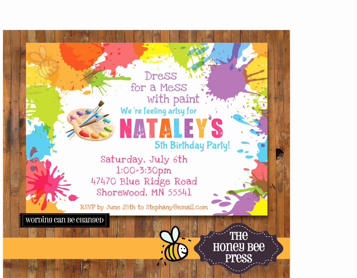 Painting Party Invitation Wording Unique Art Party Invitation Splatter Paint Birthday Party