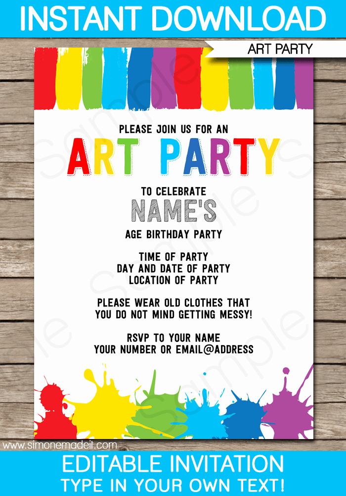 Painting Party Invitation Wording Unique Art Party Invitations Template