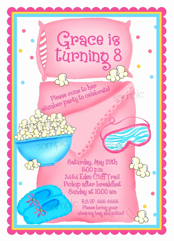 Pajama Party Invitation Wording Awesome Sleepover Invitations Sleepover Slumber Party Personalized