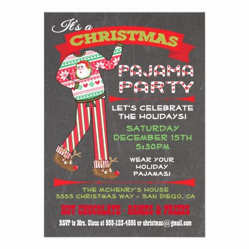 Pajama Party Invitation Wording Beautiful Chalkboard Christmas Pajama Party Invitations Super Cute