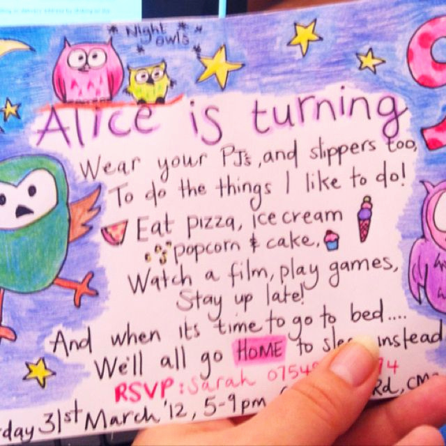 Pajama Party Invitation Wording Best Of Night Owls Pyjama Pajama Pj Party Invite Hand Drawn