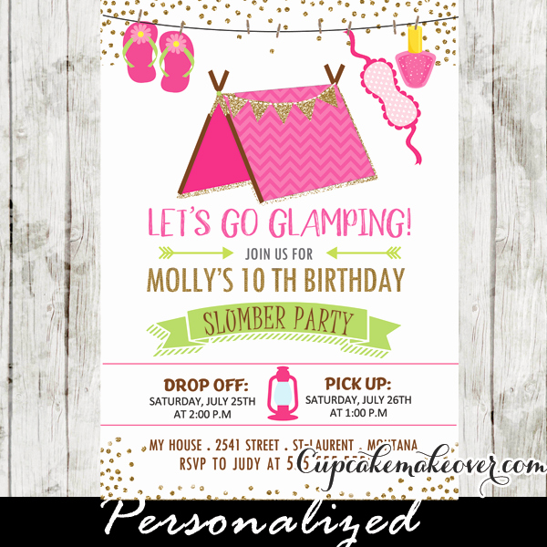 Pajama Party Invitation Wording Best Of Slumber Party Invitations Pink Glamping Tent Sleepover