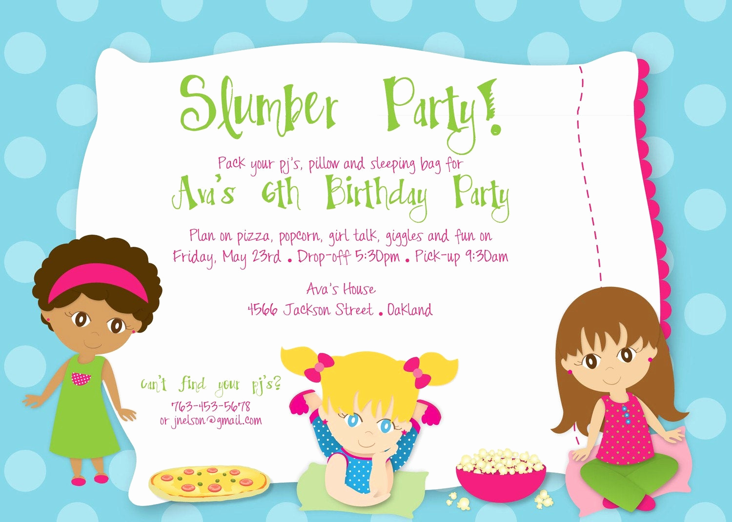 Pajama Party Invitation Wording Inspirational Slumber Party Birthday Custom Digital by Kimnelsoncreative