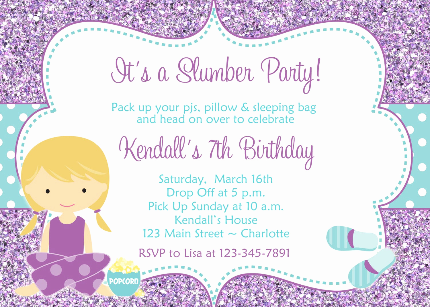 Pajama Party Invitation Wording Inspirational Slumber Party Birthday Invitation Pajama by thebutterflypress