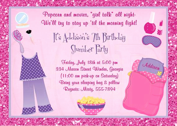 Pajama Party Invitation Wording Inspirational Slumber Party Invitation Pajama Party Sleepover Invite Pj