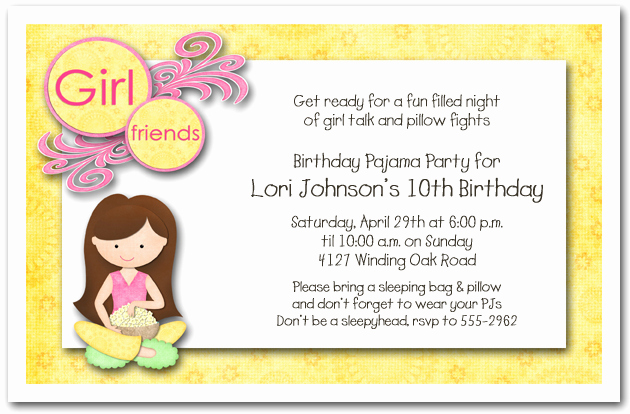 Pajama Party Invitation Wording Lovely Dark Hair Girl Pajama Party Sleepover Invitations Girls