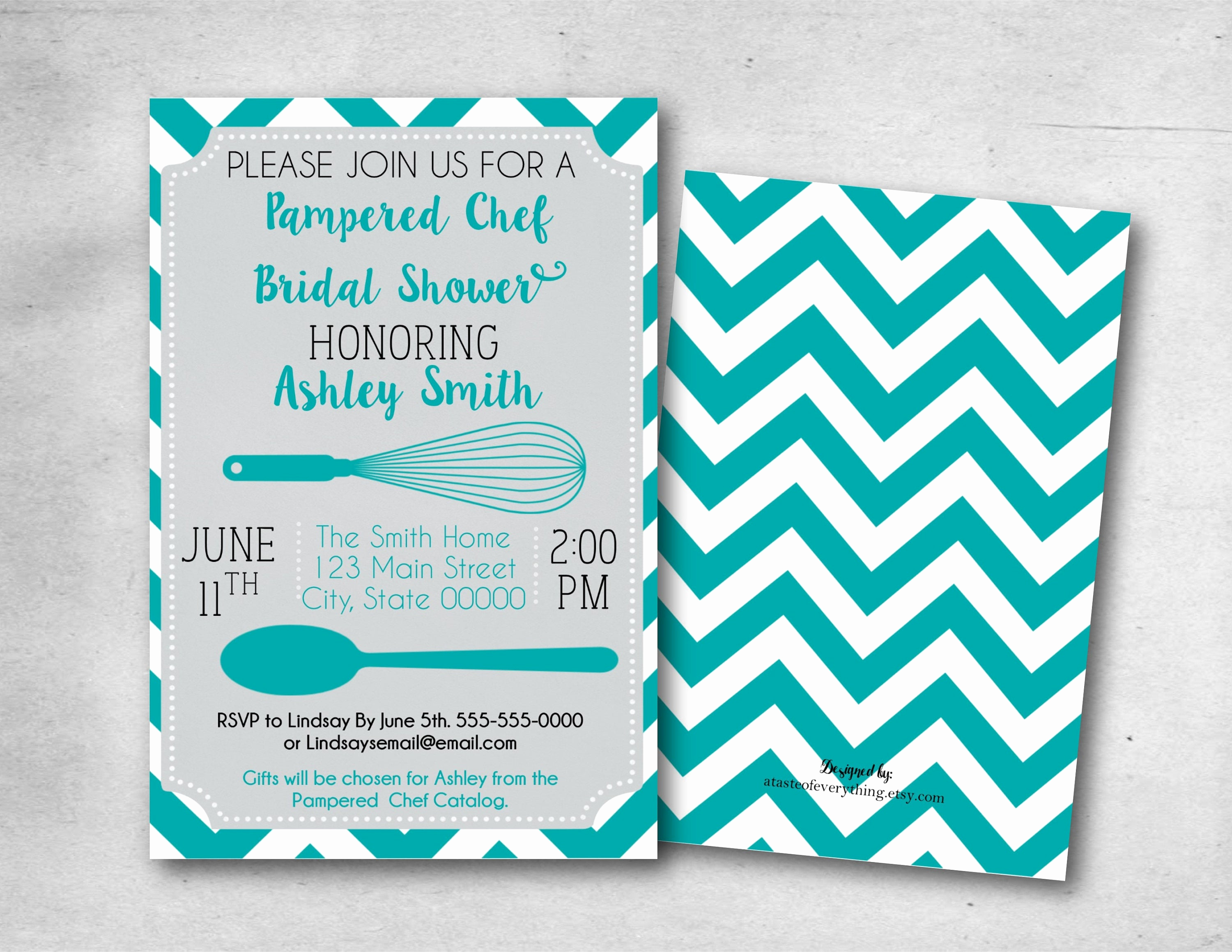 Pampered Chef Bridal Shower Invitation Awesome Bridal Shower Invitation Pampered Chef Teal Turquoise