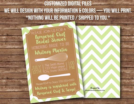 Pampered Chef Bridal Shower Invitation Luxury Items Similar to Digital Files Pampered Chef Kitchen