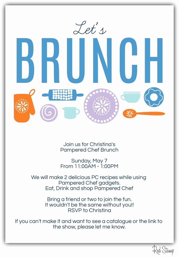Pampered Chef Bridal Shower Invitation New Pampered Chef Brunch Invitation