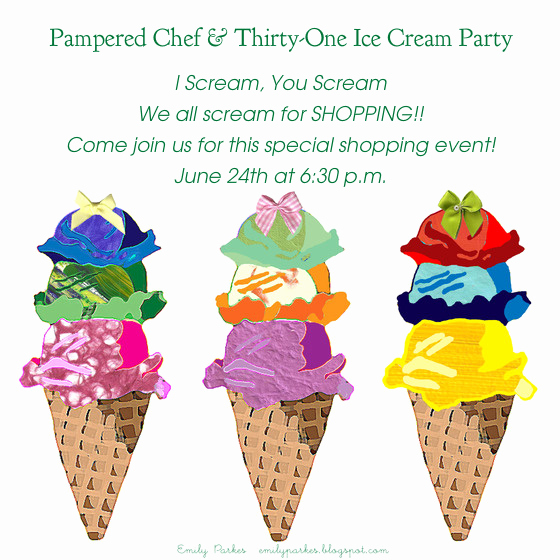 Pampered Chef Invitation Template Elegant Pampered Chef and Thirty E Ice Cream Party Line