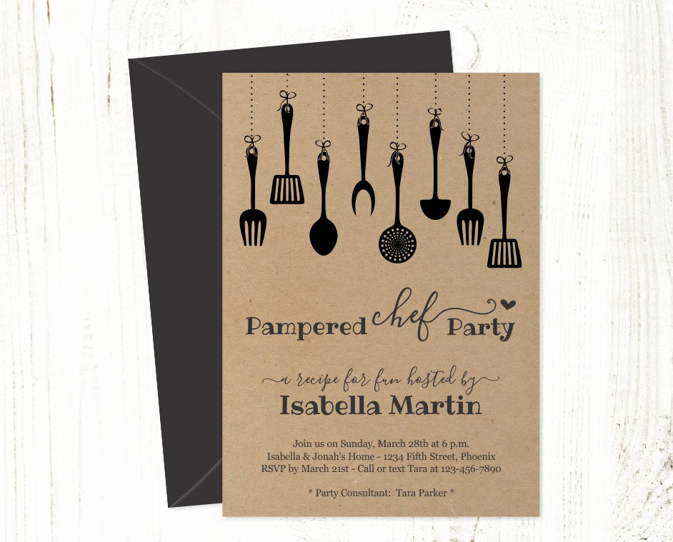 Pampered Chef Invitation Template Elegant Pampered Chef Party Invitation Template Printable Rustic