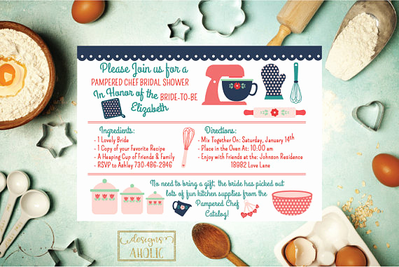 Pampered Chef Invitation Template Unique Kitchen Bridal Shower Invitation Pampered Chef Bridal Shower