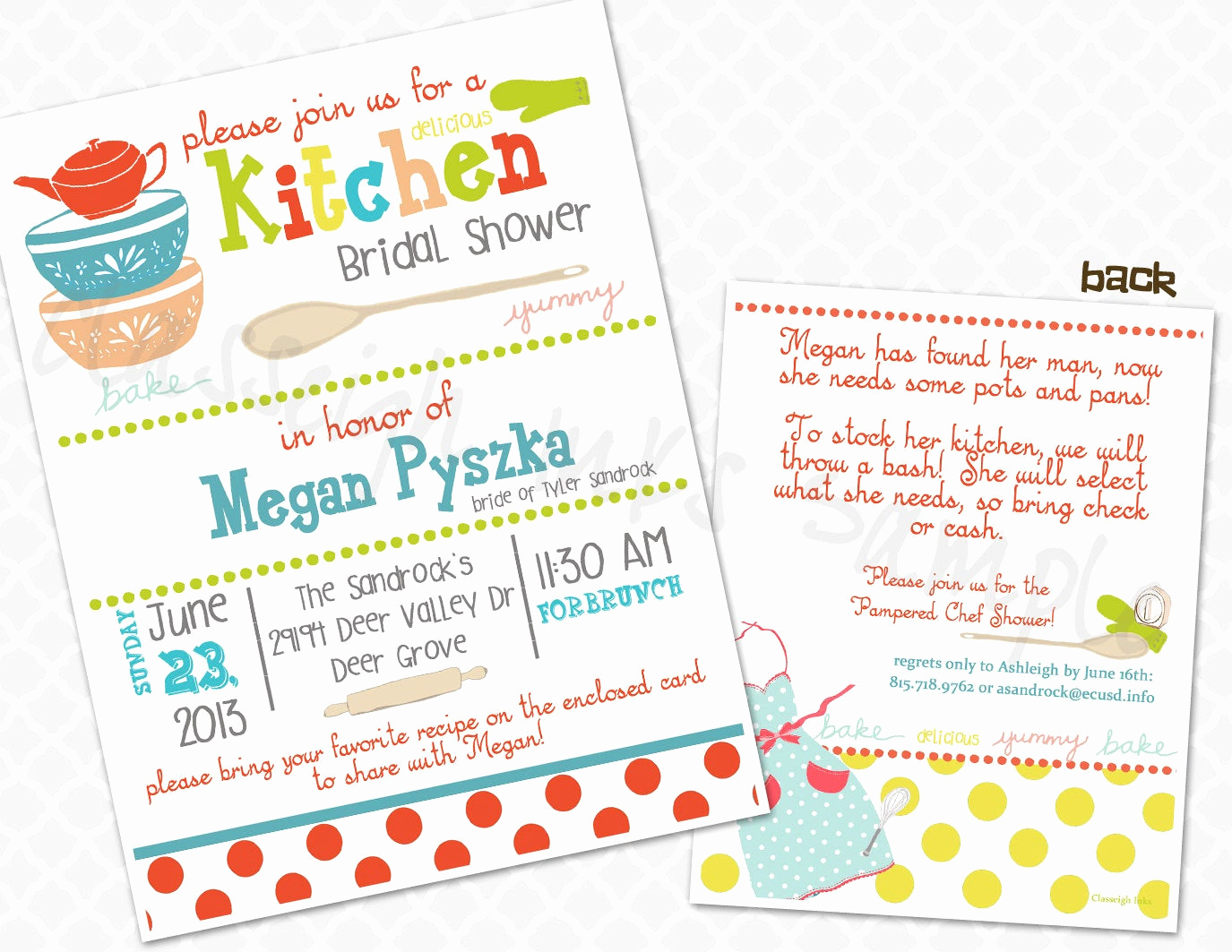 Pampered Chef Party Invitation Beautiful Pampered Chef Kitchen Recipe Bridal Shower Invitation Bridal