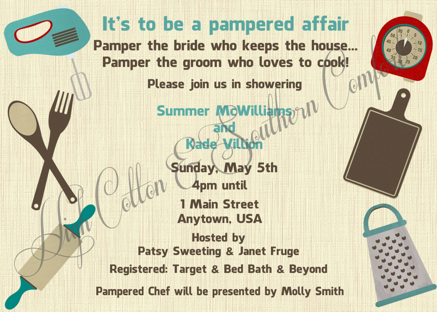 Pampered Chef Party Invitation Elegant Items Similar to Pampered Chef Inspired Wedding Shower