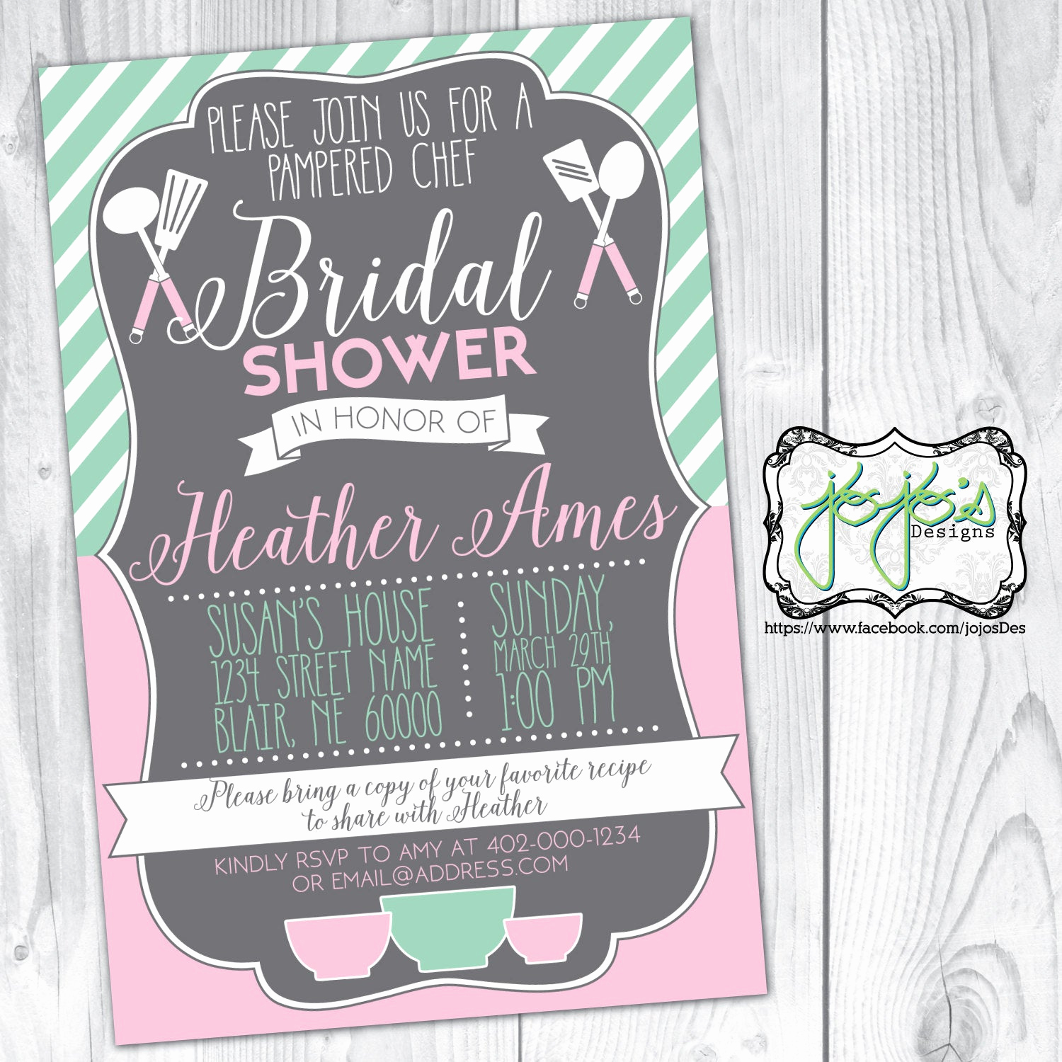 Pampered Chef Party Invitation Elegant Pampered Chef Bridal Shower Invitation Blush Pink & Mint