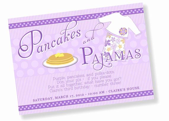 Pancakes and Pajamas Invitation Awesome Pancakes and Pajamas Printable Party Invitation by