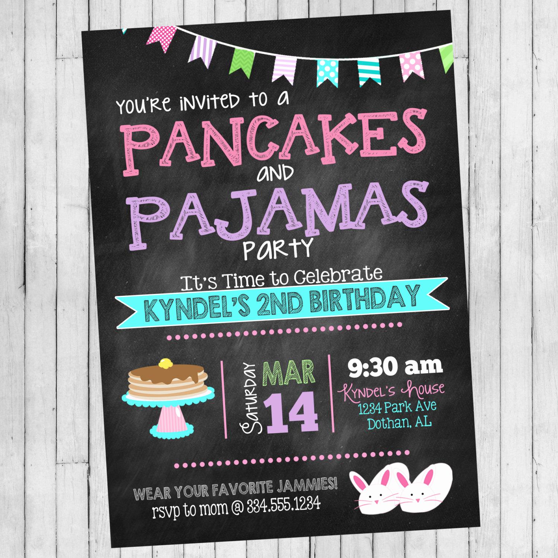 Pancakes and Pajamas Invitation Beautiful Pancakes and Pajamas Birthday Invitation Pancakes and