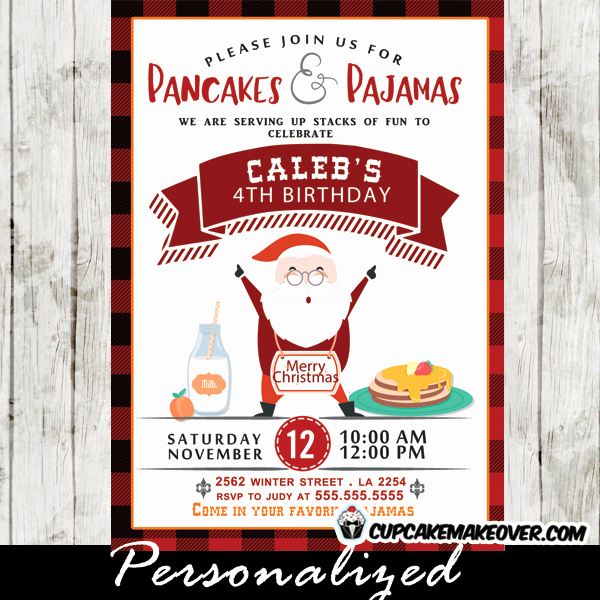 Pancakes and Pajamas Invitation Beautiful Pancakes and Pajamas Invitations Red Black Plaid Happy