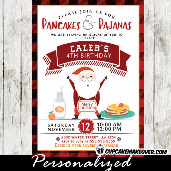 Pancakes and Pajamas Invitation Beautiful Pancakes and Pajamas Invitations Red Black Plaid Happy
