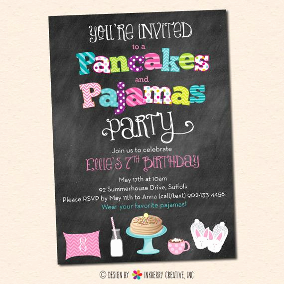 Pancakes and Pajamas Invitation Beautiful Pancakes and Pajamas Party Invitation Chalkboard Style with