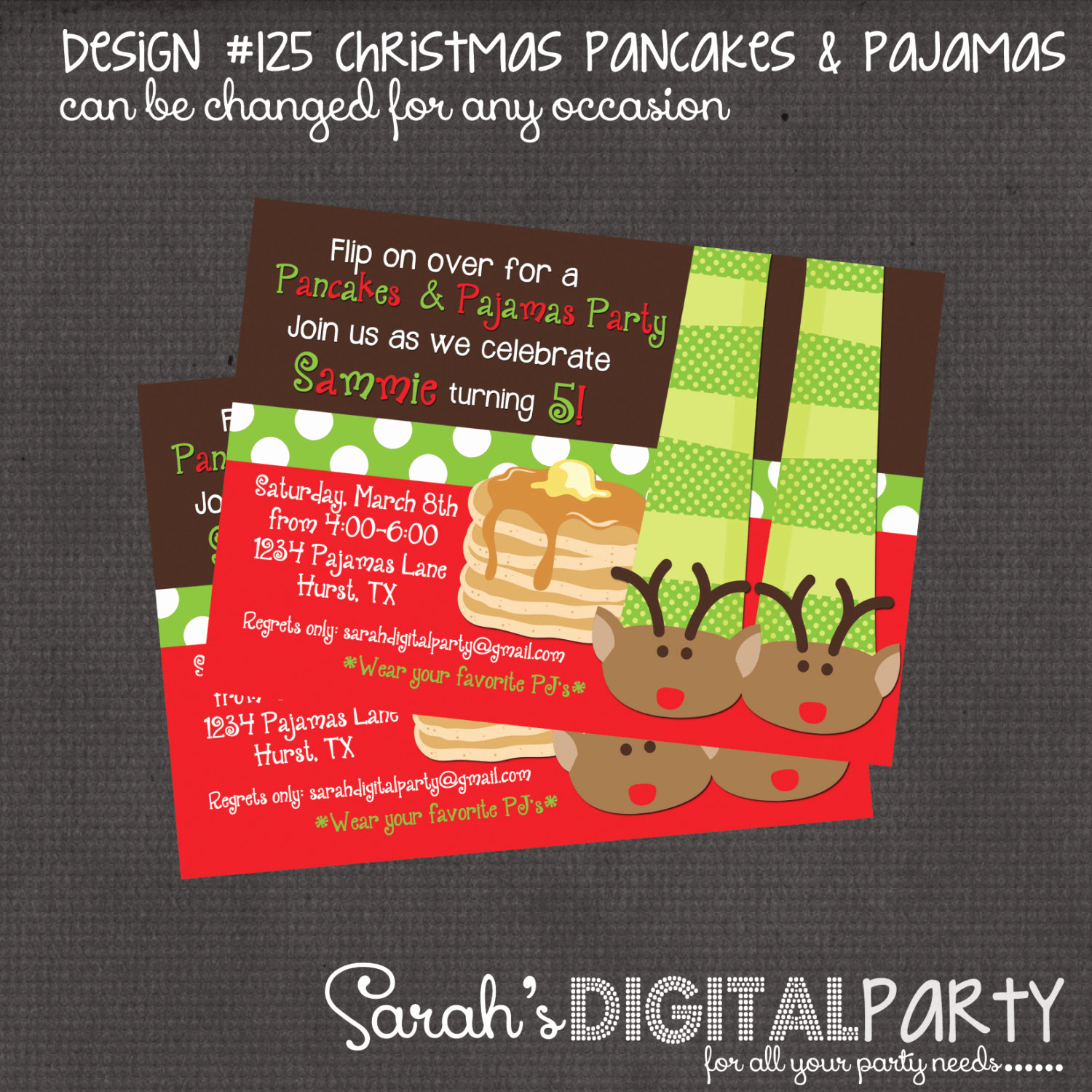 Pancakes and Pajamas Invitation Best Of Christmas Pancakes and Pajama Party Invitation 4x6 or 5x7